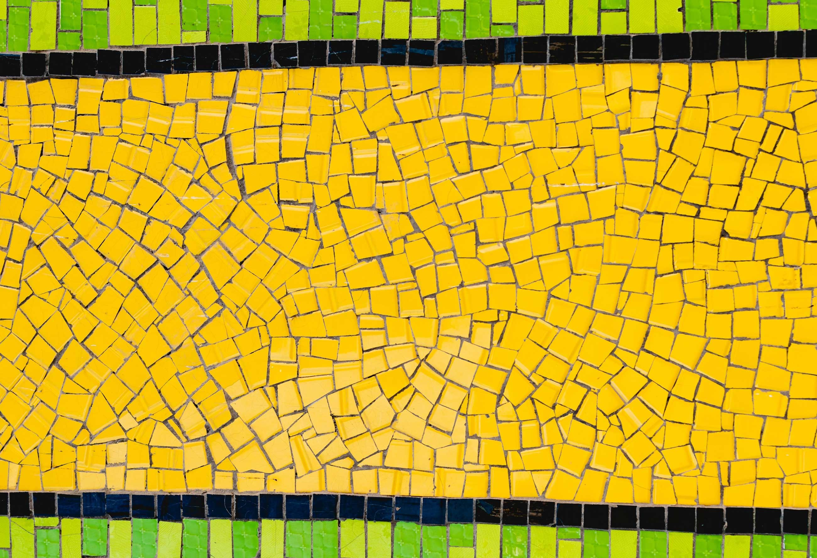 mosaic with green and yellow stripes